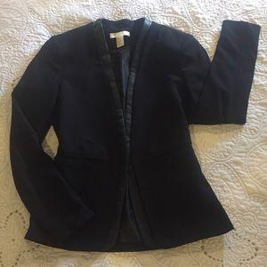 H&M dress blazer w/Faup leather trim